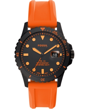Fossil Jewelry MEN'S FB-01 ORANGE SILICONE STRAP WATCH 42MM