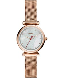 Women's Mini Carlie Rose Gold-Tone Stainless Steel Mesh Bracelet Watch 28mm