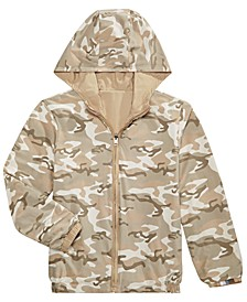 Little Boys Desert Camo Reversible Water-Resistant Hooded Windbreaker, Created For Macy's