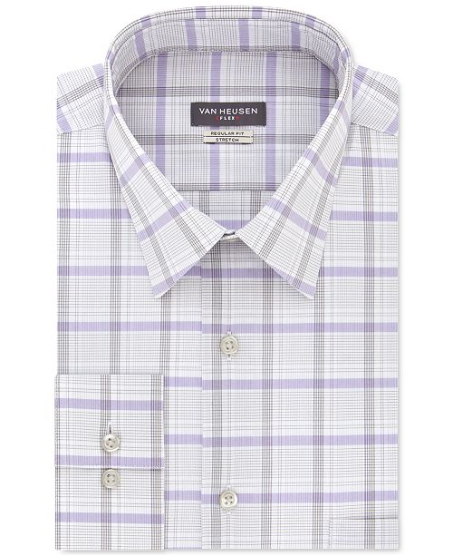 Van Heusen Men's Classic/Regular-Fit Wrinkle-Free Performance Stretch Flex Collar Check Dress Shirt