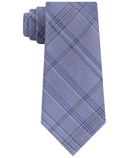 Calvin Klein Men's Mod Tonal Tartan Slim Silk Tie