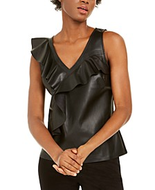 INC Ruffled Faux-Leather Top, Created for Macy's