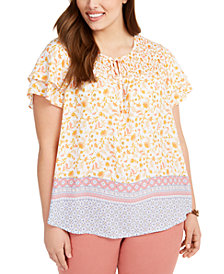 Style & Co Plus Size Smocked-Yoke Top, Created for Macy's