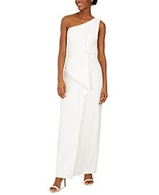 Petite Draped One-Shoulder Gown