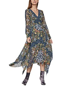 Printed Chiffon Wrap Dress