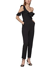 Ruffled One-Sleeve Jumpsuit