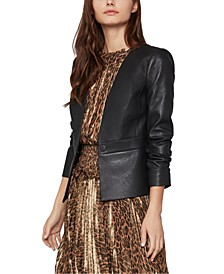 Cropped Faux-Leather Jacket