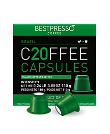 Coffee Brasil Flavor 20 Capsules per Pack for Nespresso Original Machine