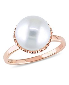 Freshwater Cultured Pearl (9.5-10mm) and Diamond (1/4 ct. t.w.) Cocktail Ring in 14k Rose Gold