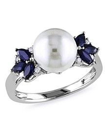 Freshwater Cultured Pearl (9-9.5mm), Sapphire (5/8 ct. t.w.) and Diamond Accent Ring in 10k White Gold