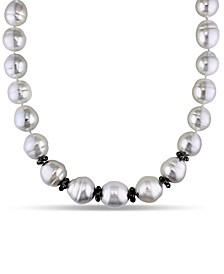 "South Sea Cultured Pearl (14-18mm) and Black Diamond Briolettes (12 5/8 ct. t.w.) Graduated 18"" Strand Necklace 14k White Gold Ball Clasp"