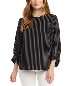 Striped Blouson-Sleeve Top