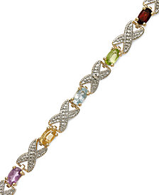 Victoria Townsend 18k Gold over Sterling Silver Bracelet, Multi Stone (3-1/5 ct. t.w.) and  Diamond Accent XO Bracelet