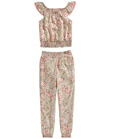 Little Girls 2-Pc. Floral-Print Top & Joggers Set, Created For Macy's