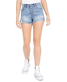 Juniors' Ripped High-Rise Button-Front Denim Shorts