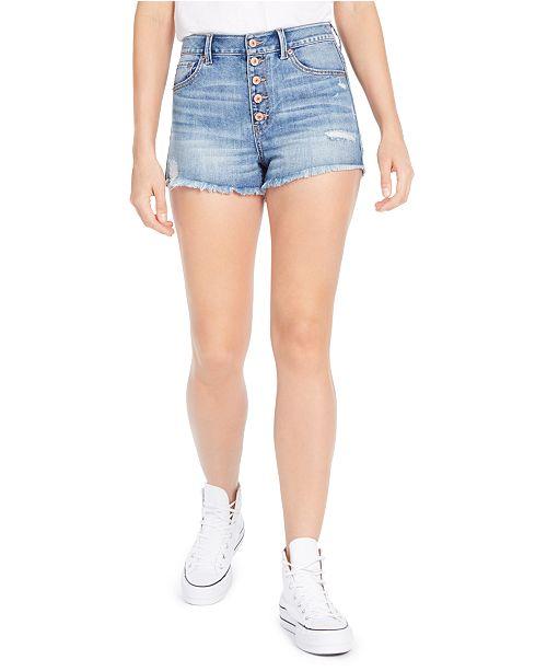 Rewash Juniors' Ripped High-Rise Button-Front Denim Shorts