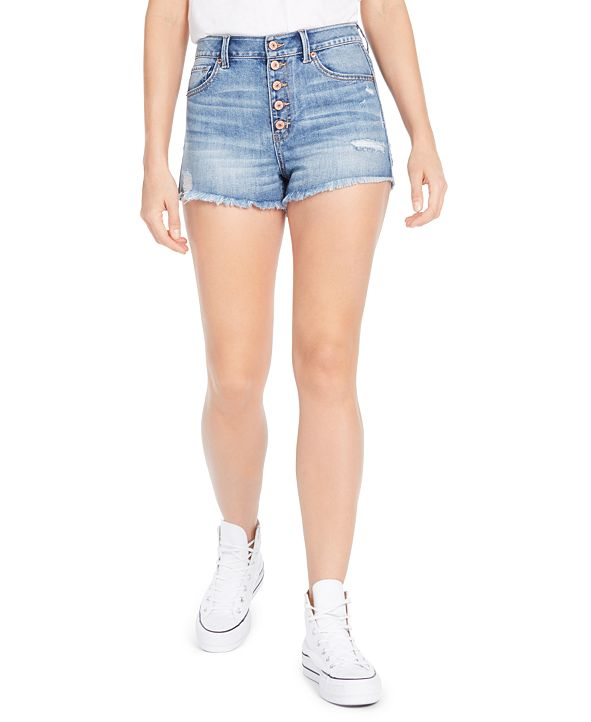 Rewash Juniors' Ripped High-Rise Button-Front Denim Shorts