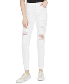 Juniors' Curvy Ripped High-Rise White Skinny Jeans
