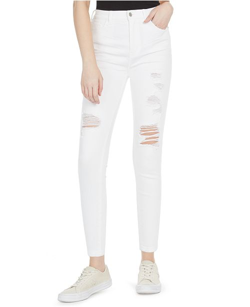 Celebrity Pink Juniors' Ripped High-Rise White Skinny Jeans