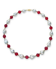 "White Baroque Freshwater Cultured Pearl (12-13mm) with Red Agate (91 ct. t.w) and Gold Beads (4mm) 18"" Necklace in 14k Yellow Gold. Also Available with Green Agate"