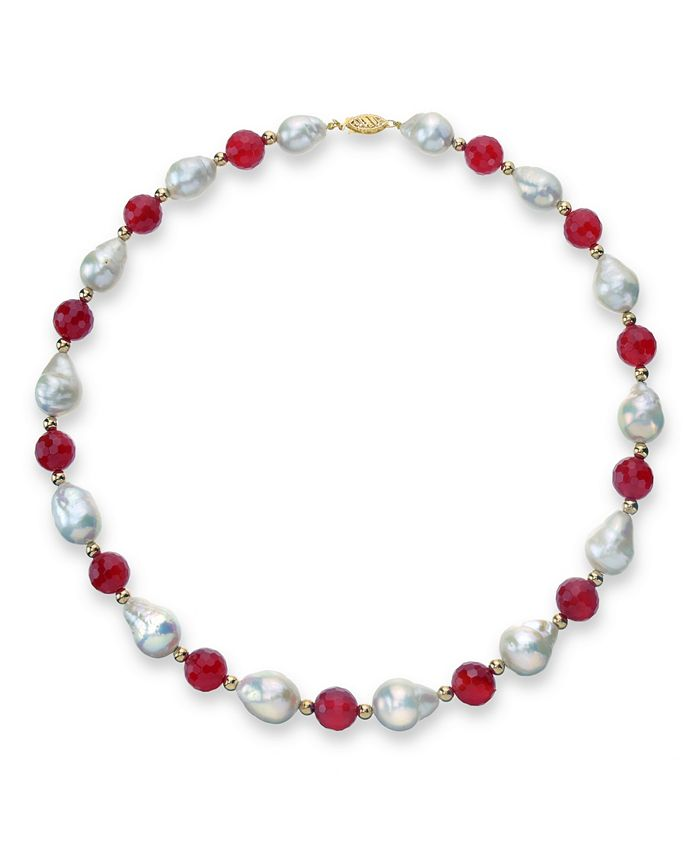 """Macy's - White Baroque Freshwater Cultured Pearl (12-13mm) with Agate (10mm) and Gold Beads (4mm) 18"""" Necklace in 14k Yellow Gold"""