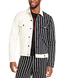 Men's Striped And Solid Denim Jacket