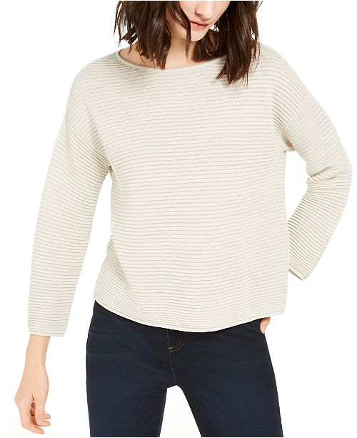 Eileen Fisher Bateau-Neck Ribbed Sweater
