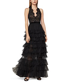 Lace Ruched-Tulle Gown