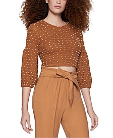 Cropped Puff-Sleeve Top