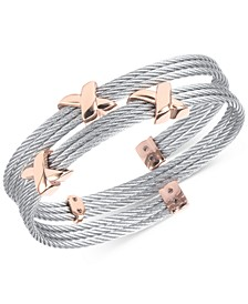 Twist Cable Wrap Bracelet in Stainless Steel & Rose Gold-Tone PVD