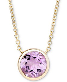 "Amethyst Bezel 18"" Pendant Necklace (1-3/4 ct. t.w.) in Gold-Plated Sterling Silver"