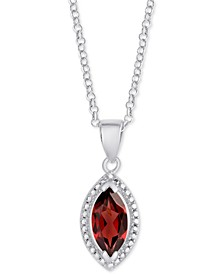 "Rhodolite Garnet Marquise 18"" Pendant Necklace (1-1/5 ct. t.w.) in Sterling Silver"
