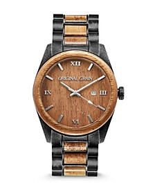Men's Classic Koa Wood Paired with Stonewashed Stainless Steel Watch 43mm