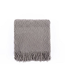 Battilo Textured Solid Soft Sofa Couch Decorative Knit Blanket