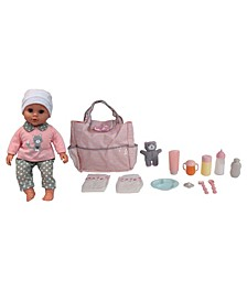 """16"""" Pretend Play Baby Doll With Diaper Bag Accessories Set"""