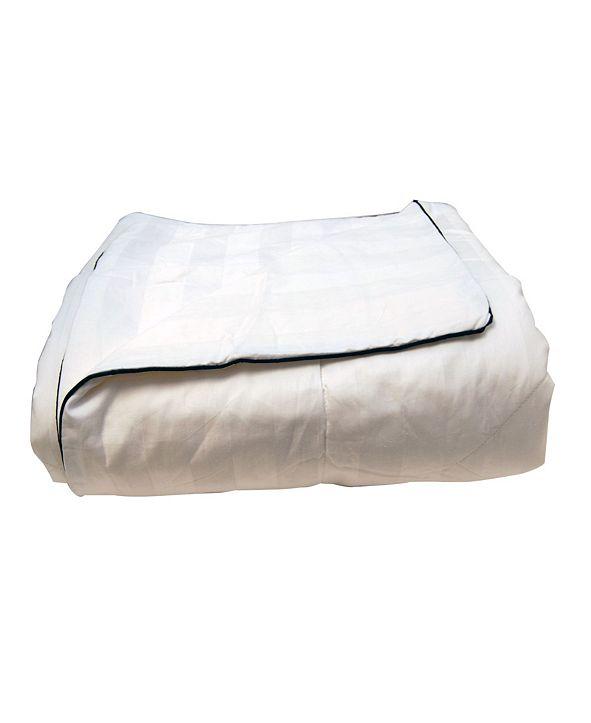 LCM Home Silk-Filled Damask Stripe Cotton Blanket, Twin