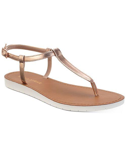 Sun + Stone Kristi T-Strap Flat Sandals, Created for Macy's