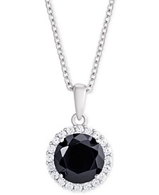 """Sapphire (1 ct. t.w.) & Cubic Zirconia Halo 18"""" Pendant Necklace in Sterling Silver"""