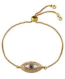 Simulated Mother of Pearl  Evil Eye Cubic Zirconia Bolo Bracelet