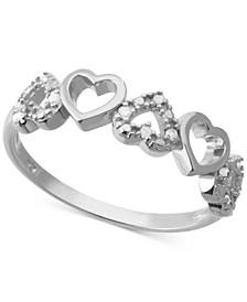 Diamond Open Heart Ring (1/10 ct. t.w.) in Sterling Silver