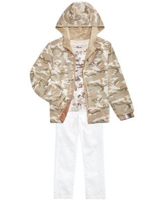 Little Boys Desert Camo Reversible Water-Resistant Hooded Windbreaker, Created for Macy's