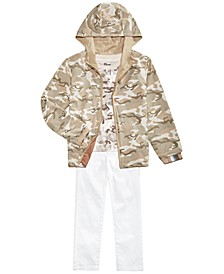Little Boys Desert Camo Reversible Water-Resistant Windbreaker, Camo Star T-Shirt & Stretch Textured Twill White Jeans, Created For Macy's