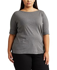 Plus Size Stretch Boatneck T-Shirt