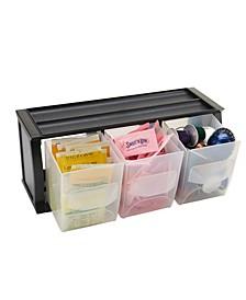 3 Compartment Plastic Bin Holder, Versatile Stackable Plastic Organizing Bins