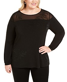 Plus Size Embellished Mesh-Yoke Top
