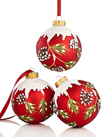Set of 3 Pine Cone Ball Ornaments