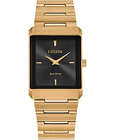 Eco-Drive Unisex Stiletto Gold-Tone Stainless Steel Bracelet Watch 25x35mm