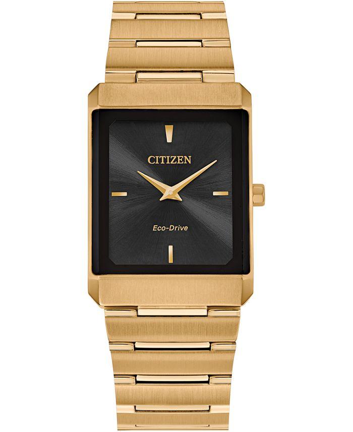 Citizen - Unisex Stiletto Gold-Tone Stainless Steel Bracelet Watch 25x35mm