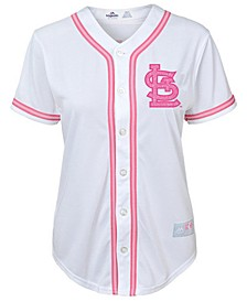 Big Girls St. Louis Cardinals Cool Base Pink Glitter Jersey