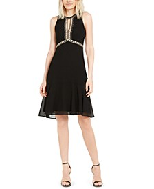 Embroidered Beaded Sleeveless Chiffon Dress, Created for Macy's
